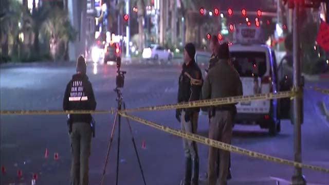 Police at the scene of an auto-pedestrian crash on Las Vegas Blvd. Dec. 9, 2016. (Luis Marquez/FOX5)