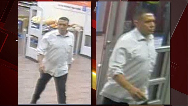 Police are searching for this man who they said pointed a phone underneath a woman's dress.