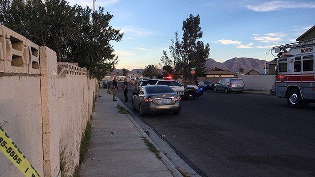 Police investigated a drive-by shooting near the area of Cheyenne Avenue and Las Vegas Boulevard on Feb. 8, 2017. (Kurt Rempe/FOX5)