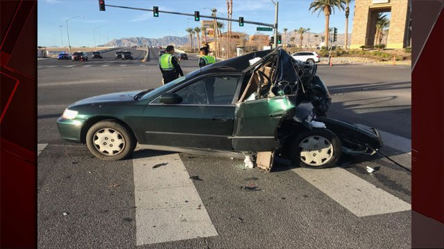 Nevada Highway Patrol released an image from the scene of a deadly crash investigation at Durango Drive and Farm Road. (Source: NHPSouthernComm/Twitter)