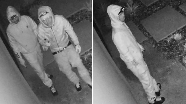 Two of the people seen as part of a burglary investigation in the far northwest Las Vegas Valley. (Source: LVMPD)