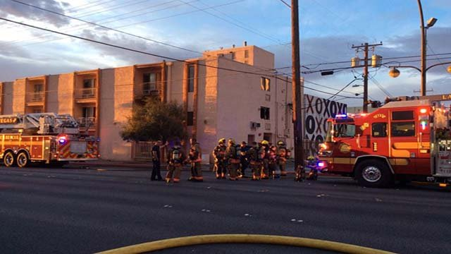 Las Vegas firefighters at the scene of an apartment fire in downtown Las Vegas. (Courtesy: Las Vegas fire)