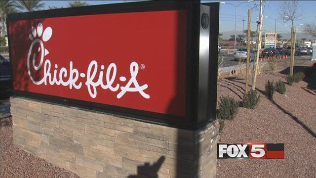 A Chick-fil-A sign is posted in front of the Warm Springs Road and Stephanie Street location in Henderson. (FOX5)