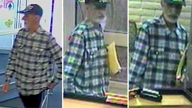 Police released images of the robber tied to a gaming area robbery and a bank holdup. (Source: LVMPD)