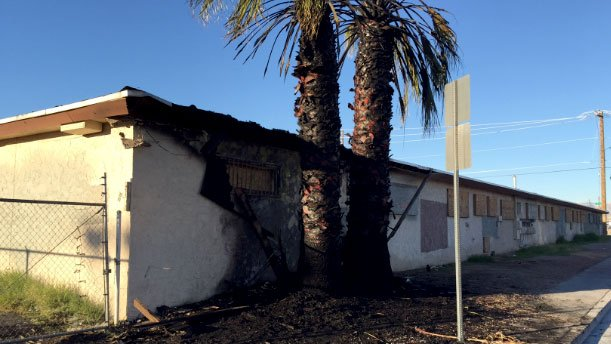 A vacant apartment building sustained damage in a fire on Feb, 14, 2017. (LVFR)