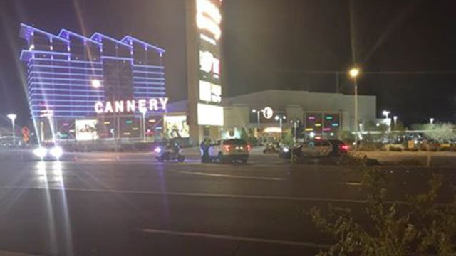 Police shutdown northbound lanes on Boulder Highway after collision. (FOX5)