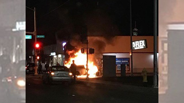 A viewer photo captured flames following a crash at Arville Street and Charleston Boulevard on Feb. 15, 2017. (Source: Lilyy Martinez)