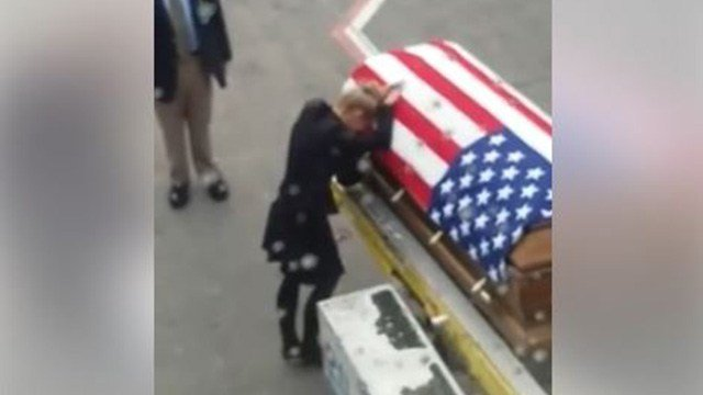 A video posted to Facebook showed a seviceman's casket being unloaded from an airliner at Raleigh-Durham International Airport on Feb. 14, 2017. (Source: Facebook/Lisa West Williams)