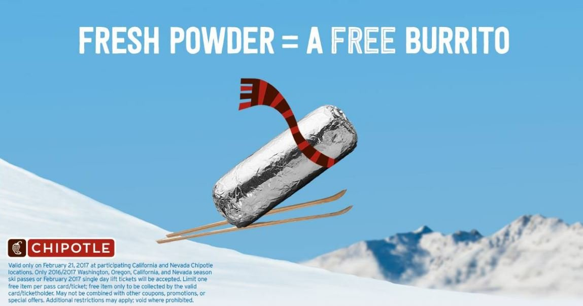 "Ski resort visitors and season pass holders will be rewarded with a ""buy one, get one"" offer on Feb. 21, 2017. (Source: Facebook/Chipotle)"