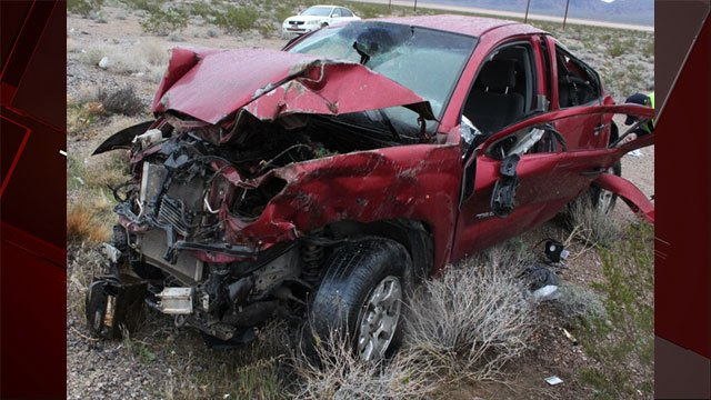 Nevada Highway Patrol released an image of the aftermath of a fatal crash near Primm. (NHP)