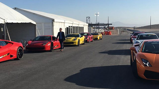 High-end sports cars at SPEEDVEGAS are lined up ahead of the track's grand opening on April 15, 2016. (Mike Doria/FOX5)