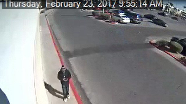 Police believe the person in this surveillance photo is connected to a robbery near Stephanie Street and Sunset Road on Feb. 23, 2017. (Source: Henderson PD)
