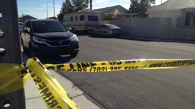 Police tape closes off an area of Silver Creek Avenue in the south Las Vegas Valley after a shooting on March 3, 2017. (Roger Bryner/FOX5)