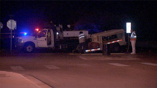 Police said a Southwest Gas utility vehicle was involved in a crash that resulted in the death of another driver on March 5, 2017. (FOX5)
