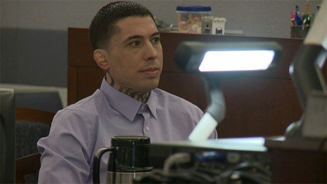 Assault defendant War Machine appears in a Las Vegas court room for opening statements in his trial on March 7, 2016. (FOX5)