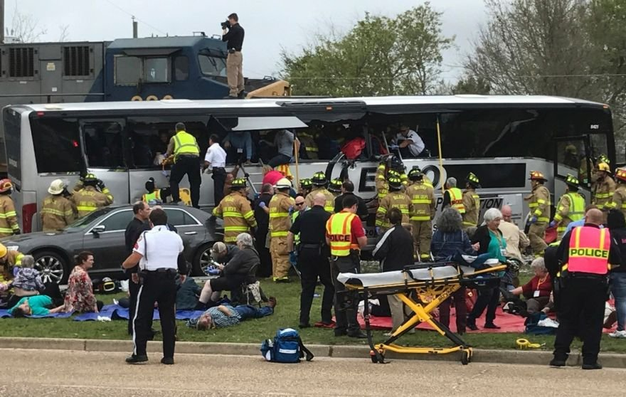 A fourth person is dead after a bus-train crash in Mississippi. Courtesy: FOX News.