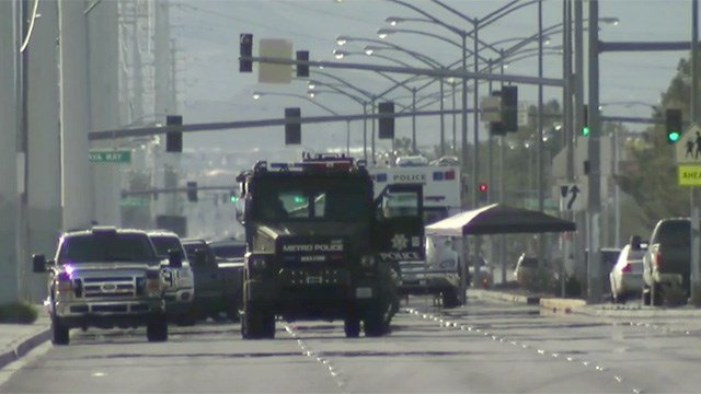 SWAT vehicles were called to the area of Rainbow Boulevard and Flamingo Road after a hostage situation on March 8, 2017. (Ray Arzate/FOX5)