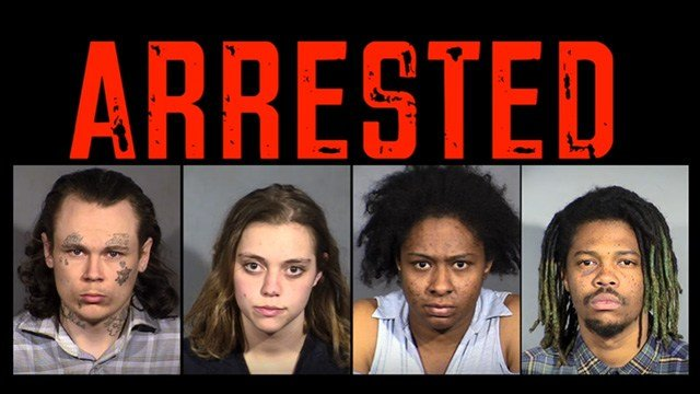 From left to right, police arrested Mark Hagerman, Kalie Fechner, Linda Smith, and Tyreau Duboe. (Source: LVMPD/YouTube)