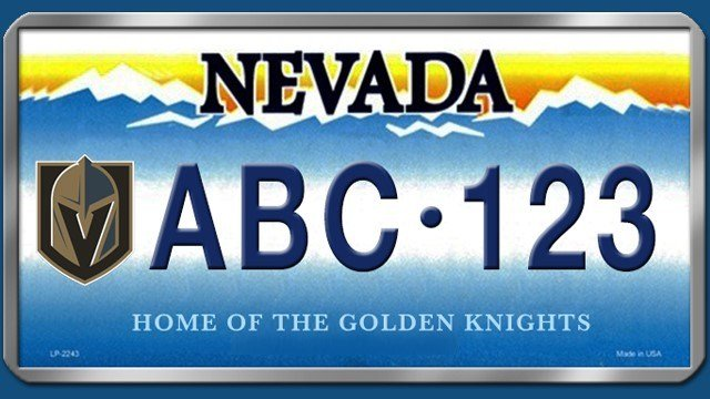 A new Golden Knights themed license plate similar to this one could soon be available for drivers. (Logo courtesy of Las Vegas Golden Knights)