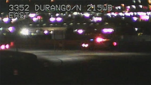 Police at the scene of a fatal crash on 215 Beltway near Durango Drive on March 18, 2017. (LVACS)