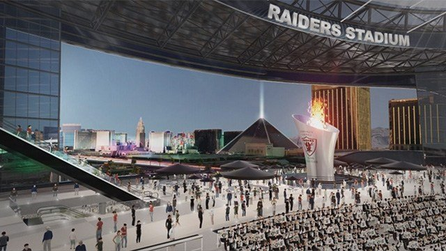 Renderings show one end of the Raiders proposed stadium with a view of the Las Vegas Strip. (Source: SNTIC.org)
