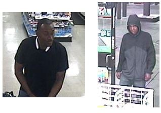 Police are looking for these two men who were seen robbing a convenience store clerk. (LVMPD)