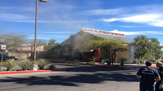 The Roadrunner Saloon is shown with smoke escaping from the roof (FOX5).