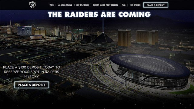 The Raiders launched a season-ticket deposit portal on their website for the future Las Vegas stadium. (Source: Raiders.com)