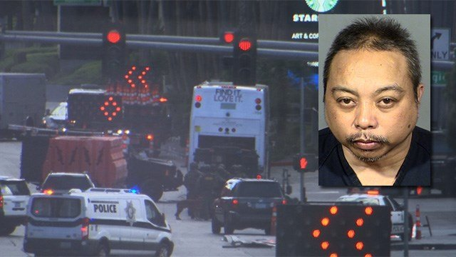 Police negotiated with a gunman on board an RTC bus on the Las Vegas Strip on March 25, 2017. The suspect in the case was identified as Rolando Cardenas. (Background: Austin Turner/FOX5; inset: LVMPD)