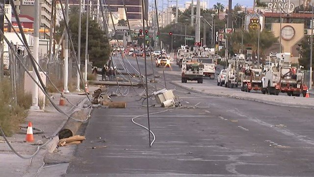 Koval Lane, adjacent to the Las Vegas Strip, was blocked due to downed power poles brought down by high winds on March 30, 2017. (Luis Marquez/FOX5)