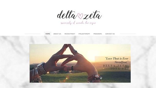 A screen capture of the UNLV chapter of Delta Zeta's website. (Source: dzunlv.com)
