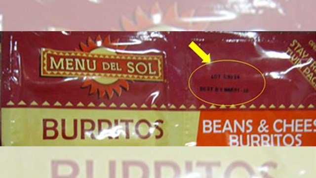Menu Del Sol's line of frozen bean and cheese burritos was voluntarily recalled due to Listera concerns. (Source: FDA)