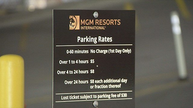 This parking sign will get a change. A list of parking fees is shown at an MGM Resorts property in this undated photo. (FOX5)
