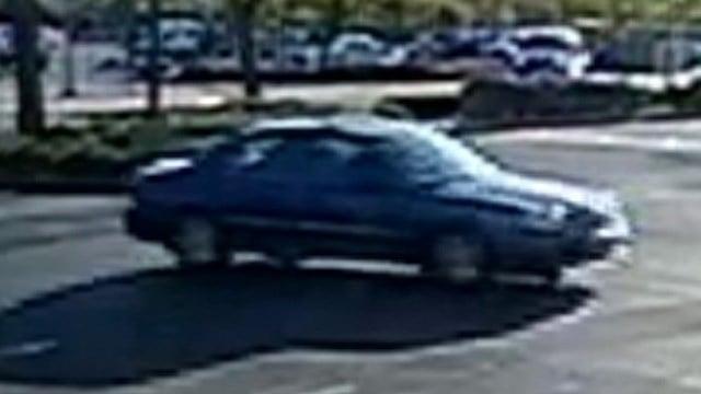 Police said the robber got into the passenger side of a dark, older-model sedan after the April 4, 2017 holdup. (Source: LVMPD)