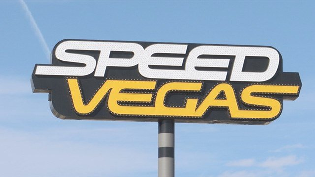The sign for the SPEEDVEGAS race track outside of the Las Vegas Valley appears in this undated photo. (FOX5)