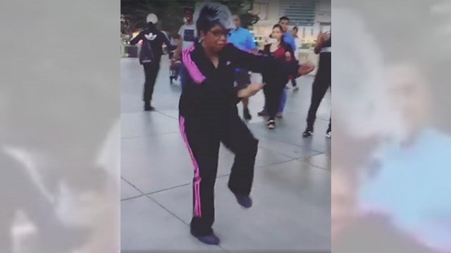 """Do you know her? A Facebook video showed a dancing """"grandma"""" on the Las Vegas Strip on April 5, 2017. (Source: Facebook/BBoy World)"""