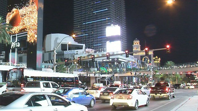 In this undated photo, vehicles jam Las Vegas Boulevard at Harmon Avenue.  (FOX5)