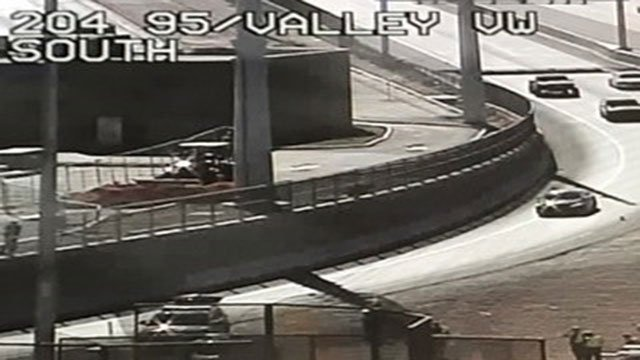 A traffic cam view of the fatal crash near U.S. 95 and Valley View Boulevard on April 2, 2017. (FOX5)