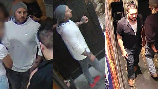 Police said the man seen in the left and middle photos was the shooter in the case on March 25, 2017. The person in the right is accused of a fight. Both incidents happened in the 9800 block of West Flamingo Road. (Source: LVMPD)