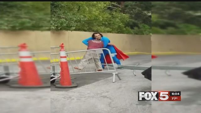 A costumed Superman got into a scuffle on the Strip. (Courtesy: Matt Biondic)