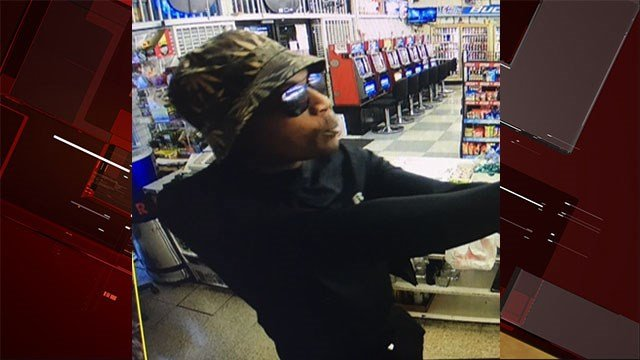 A man was seen on a surveillance camera robbing a convenience store on Apr. 10, 2017. (LVMPD)
