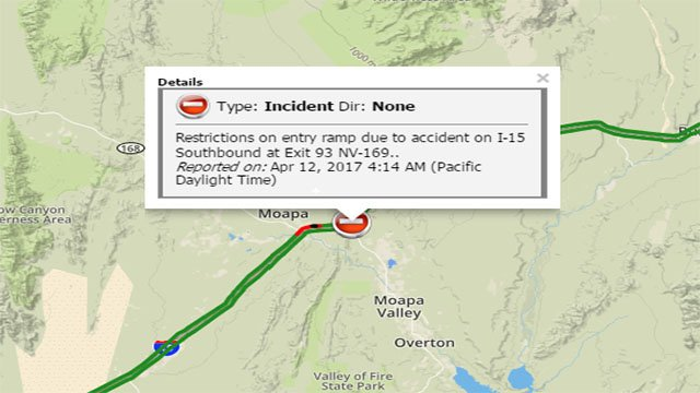 Screenshot from traffic page showing delays on I-15 near Moapa on April 12, 2017. (FOX5)