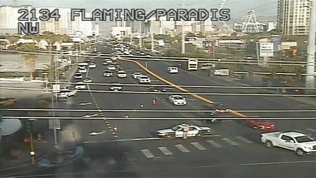 Police shown blocking traffic on East Flamingo and Paradise Roads on April 12, 2017. (LVACS)