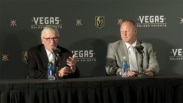 Vegas Golden Knights head coach Gerard Gallant, right, looks on as majority owner Bill Foley introduces the team's first ever head coach on April 13, 2017. (Robbie Hunt/FOX5)