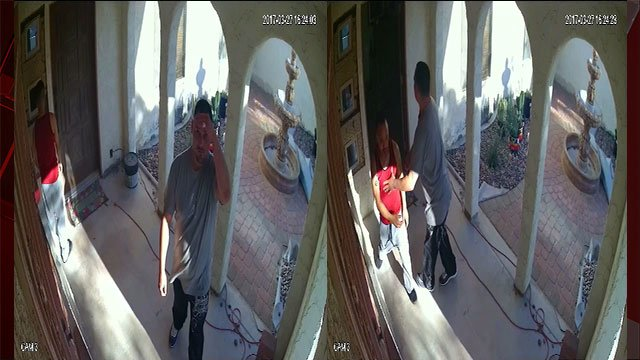A video still of the two burglary suspects entering the home (LVMPD/FOX5).
