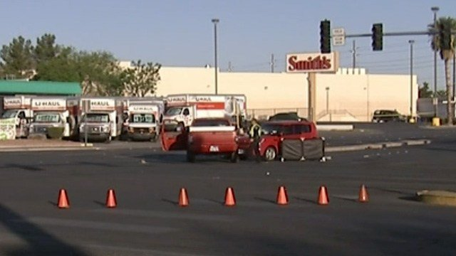 North Las Vegas Boulevard at Civic Center Drive was shut down to traffic after a deadly crash on April 13, 2017. (Source: FAST CAM)