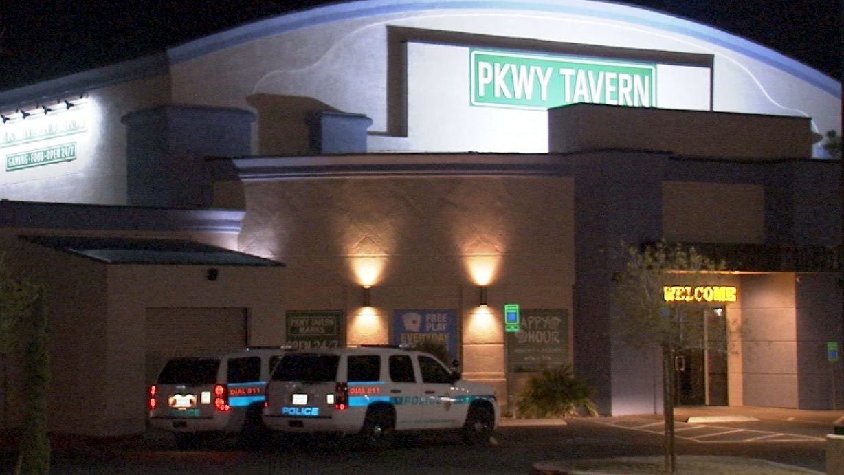 Police are investigating a shooting outside PKWY tavern in Henderson on April 18, 2017. (Luis Marquez/FOX5)