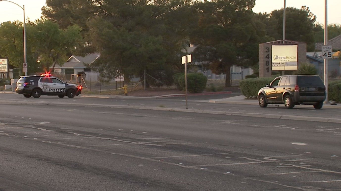Police are investigating a crash involving a pedestrian near Sunset and Pecos roads on April 13, 2017. (Luis Marquez/FOX5)