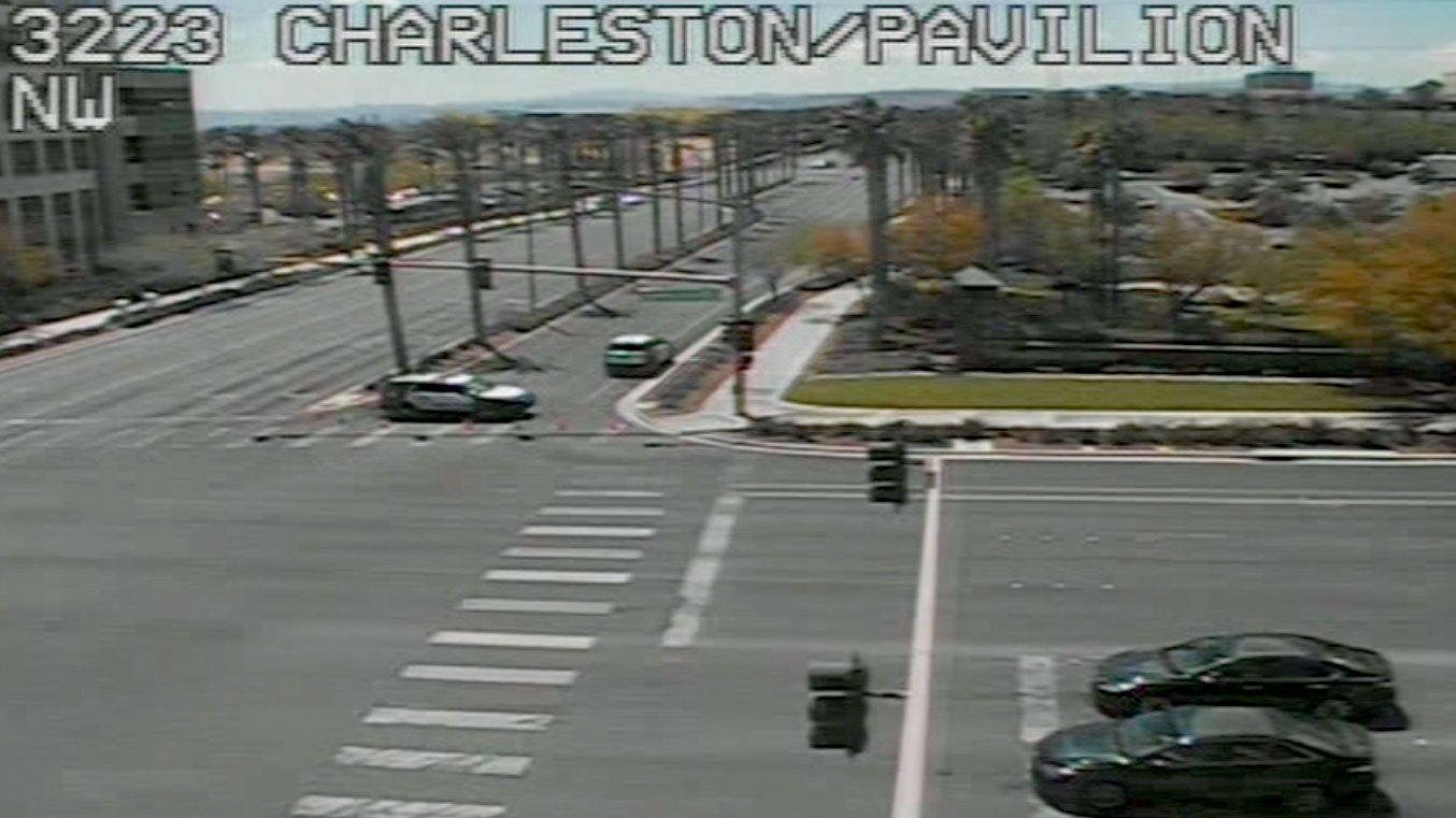 Police vehicles block off Pavilion Center Drive after a fatal crash on April 18, 2017. (LVACS)