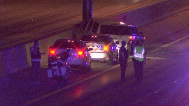 A Henderson squad car was hit on Interstate 215 near Valle Verde Thursday night. (FOX5)